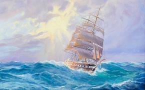 Картинка море, волны, корабль, парусник, Adolf Bock
