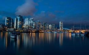 Картинка ночь, город, берег