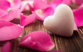 Картинка фон, обои, розовая, сердце, роза, лепестки, wallpaper, сердечко, flower, широкоформатные, background, полноэкранные, HD wallpapers, роз, …