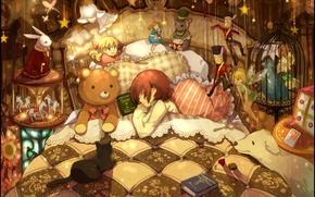 Картинка животные, игрушки, кровать, подушки, мальчик, девочка, книжки, много, спят