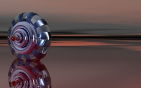 Картинка поверхность, отражение, полосы, фигура, глянец, круглая