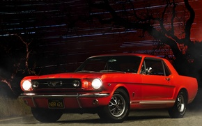 Обои car, ночь, red, ford mustang, muscle car
