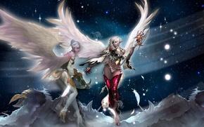 Картинка звезды, горы, девушки, крылья, перья, lineage 2, посох, уши, пики, kamael, арбалет