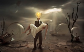 Картинка безнадежность, свет, лампы, фантазия, печаль, отчаяние, арт, угасшая, The Extinguished