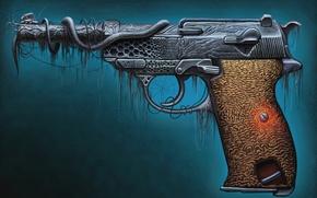 Картинка пистолет, оружие, арт