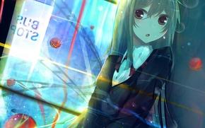 Картинка девушка, шар, аниме, арт, форма, школьница, nmaaaaa