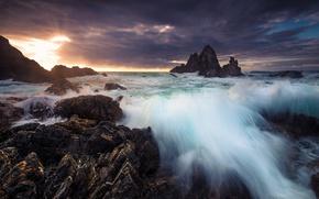 Картинка море, горы, рассвет, Австралия