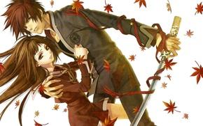 Картинка катана, форма, двое, кленовые листья, hiiro no kakera, yone kazuki, takuma onizaki, tamaki kasuga, багровые …