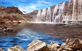 Картинка небо, горы, птицы, озеро, камни, скалы, водопад