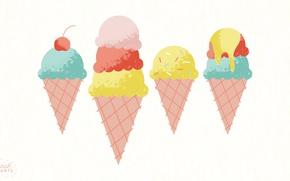 Картинка еда, мороженое, вишенка, рожок, вафля, ice cream