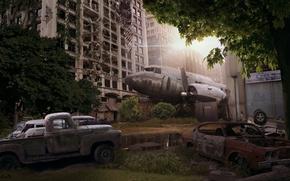 Картинка машины, город, самолет, апокалипсис, арт