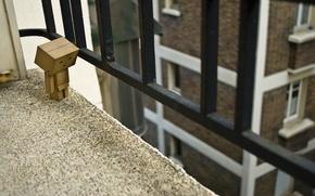 Обои danbo, дом, коробка, ограждение, балкон, перила, окна