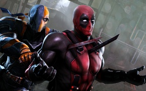 Обои deadpool, deathstroke, лезвие