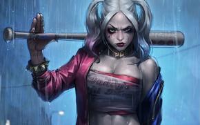 Обои дождь, бита, Harley Quinn, Suicide Squad, Margo Robbie, Отряд Самоубийц