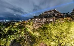 Картинка деревья, Япония, hdr, панорама, храм, Japan, ночной город, Kyoto, Киото, Киёмидзу-дэра, Kiyomizu-dera