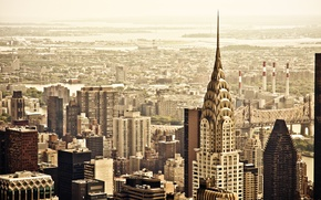 Картинка город, вид, здания, дома, Нью-Йорк, небоскребы, крыши, панорама, USA, США, Манхэттен, New York, Manhattan, NYC, …