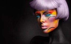 Картинка фон, портрет, макияж, colourful, причёска