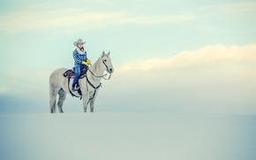 Картинка winter, horse, cowgirl