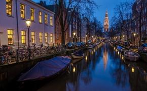 Обои amsterdam, holland, фото,  синий час 