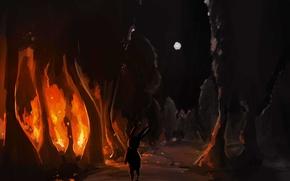 Картинка лес, деревья, огонь, луна, арт, Заяц, Sharpieboss