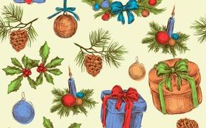 Картинка игрушки, рисунок, свеча, подарки, бант, шишка