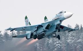 Картинка взлет, су-27, форсаж
