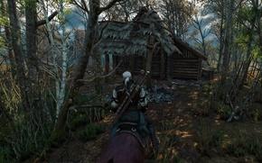 Картинка деревья, ведьмак, изба, rpg, геральт, дикая охота, wild hunt, the witcher 3, cd projekt red