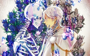 Картинка цветы, скелет, мужчина, Арт, Touken Ranbu, Цурумару Кунинага, Tsurumaru Kuninaga