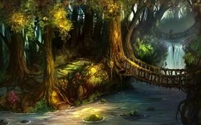 Картинка лес, деревья, мост, водопад, дорожки, арт