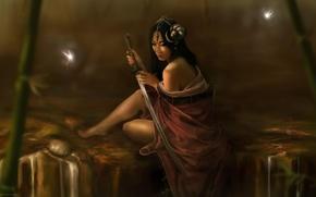 Картинка девушка, светлячки, катана, Michel Victor Oliveira, BRAZIL