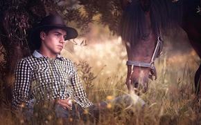 Картинка дерево, отдых, лошадь, парень
