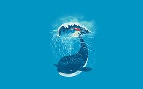 Обои море, океан, волна, минимализм, кит, серфер, серфинг, доска
