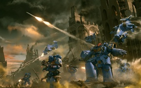 Картинка руины, Warhammer, воины, выстрелы, силовая броня