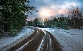 Обои дорога, снег, зима