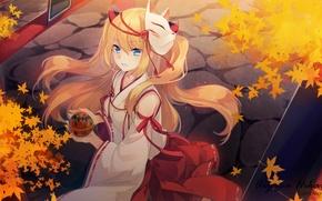 Картинка осень, девушка, аниме, маска, арт, кимоно, shinia