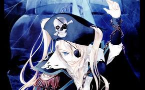Картинка череп, пират, цепь, воротник, паруса, повязка, манга, жест, белые волосы, art, эполеты, Sumi Keiichi