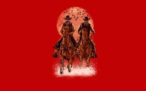 Картинка птицы, луна, лошади, всадники, ковбои, скелеты