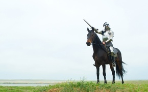 Картинка меч, Лошадь, доспехи, рыцарь