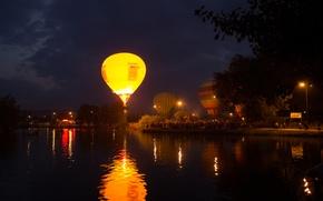 Картинка ночь, озеро, воздушные шары, праздник, воздухоплавание, пятигорск
