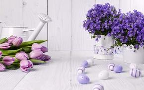 Картинка фото, Цветы, Тюльпаны, Пасха, Яйца, Ваза, Колокольчики, Праздник