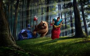 Обои медведь, арт, парень, спальный мешок, деревья, вещи, палатка, лес