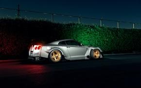 Картинка Dark, Light, Nissan, GT-R, Car, Sport, Low, Rear, Stancenation