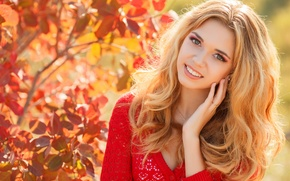 Картинка осень, взгляд, девушка, улыбка, макияж, блондинка