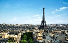Картинка деревья, город, Франция, Париж, здания, дома, утро, панорама, Эйфелева башня, Paris, архитектура, France, La tour …