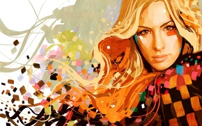 Обои графика, цвет, портрет, блондинка