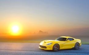 Картинка Закат, Солнце, Небо, Желтый, Асфальт, Dodge, Viper, GTS, Вайпер, SRT