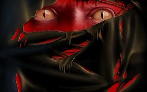 Обои красный, Глаза, ткань