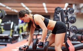 Картинка pose, workout, fitness, gym, dumbbell