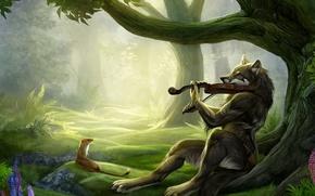 Обои фентези, волк, друзья, скрипач, скрипка, лес
