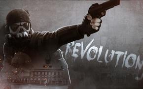 Обои революция, мужчина, солдат, шлем, Homefront: The Revolution, противогаз, пистолет